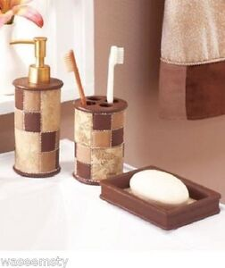 Sueded brown patches patchwork ceramic accessory set earth for Bathroom decor earth tones