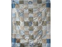 HOMEMADE PATCHWORK THROW - GOLDEN BLUE £20 - Ideal Christmas Present for over a Sofa or Bed