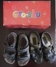 2 pairs boys leather adjust Gro - Shu sandals size 10 + FREEBIE Cheltenham Hornsby Area Preview