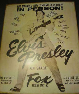 VINTAGE-ELVIS-PRESLEY-1956-DETROIT-CONCERT-FOX-POSTER-SIGN-50s-tin-metal-presly