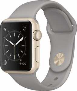 Apple Watch Series 1-38 mm Aluminium Or avec Bracelet sport gris