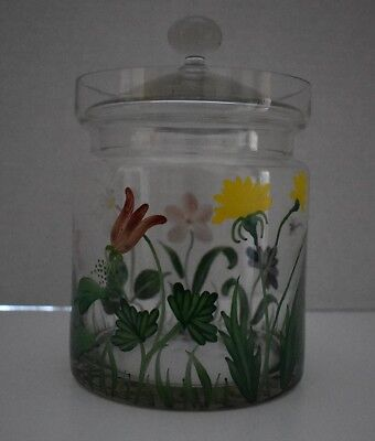 Hand Painted Spring Floral Glass Biscuit Jar