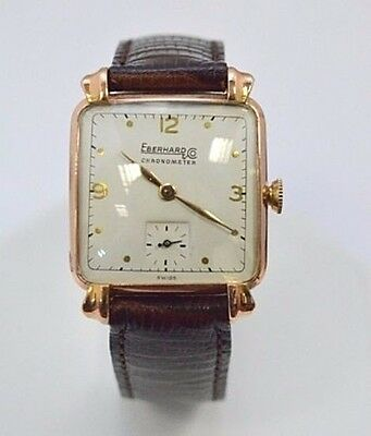 W503- Very Rare 18K Rose Gold Eberhard & Co Chronograph Watch 18 JEWEL