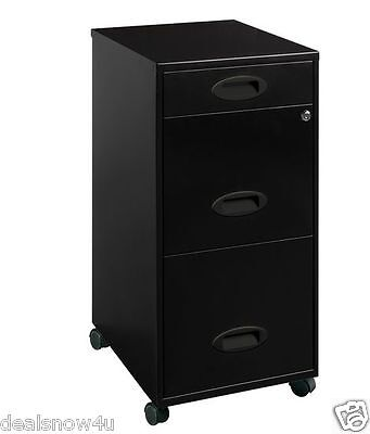 Office Designs Black 3 Drawer Metal Mobile File Cabinet Home Filing Storage Pc