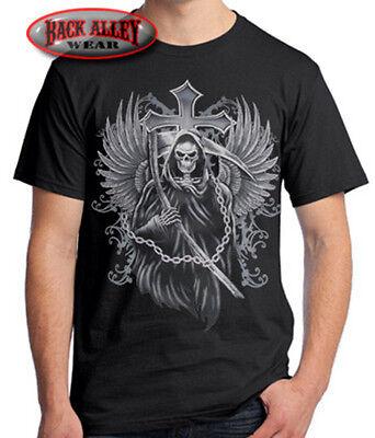 Grim Reaper w/ Cross T-SHIRT Wings Sickle & Chains MMA Metal Punk Rock - M-3XL](Grim Reaper Wings)