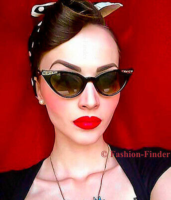 50s Cat Eye Sunglasses (RARE 50s Cat Eye Glossy Pin Up Rockabilly Retro BETTY Page Fashion Sunglasses)