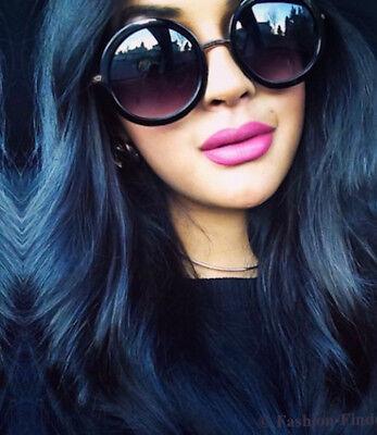 The Black Gunmetal Gray ROUND Row Linda Hippie BOHO Aviator Vintage Sunglasses (Row Sunglasses)