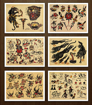 8.5x11 Sailor Jerry Classic Set 1 Vintage Tattoo Flash Design Sheets Art