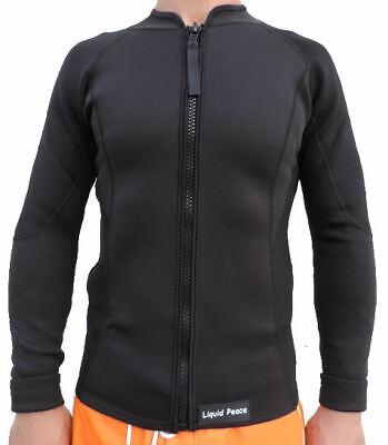 Men's 2/1mm Wetsuit Jacket, Full Front Zipper, Long Sleeve, Sizes: S-3XL, -