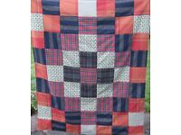 HOMEMADE PATCHWORK THROW - McTARTAN £15 -Ideal Christmas Present for over a Chair or Bed