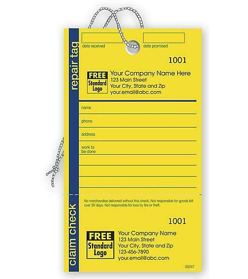 250 Repair Tag In Yellow W/Navy Border 3.125 X 5.5 / Nebs Deluxe No. 58247