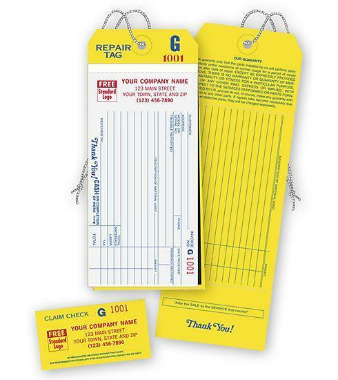 1000 4-IN-1 Repair Tags, Detachable Claim Check / 2 Part / Deluxe-Nebs No. 300