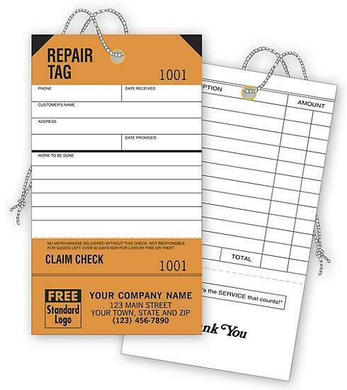250 Repair Tags, Service, Detachable Claim Check Nebs-Deluxe No. D304