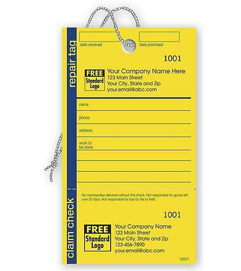 1000 Repair Tag In Yellow W/Navy Border 3.125 X 5.5 / Nebs Deluxe No. 58247