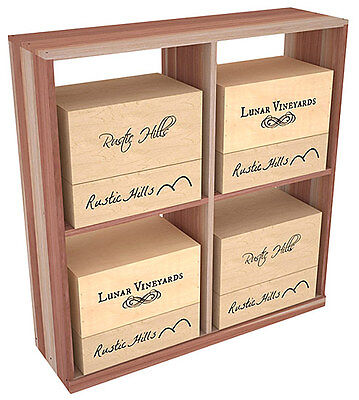 Wooden Solid Case Storage Bin Wine Rack Kit in Redwood. Hand Crafted in the USA.