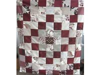 HOMEMADE PATCHWORK THROW - MERRY BERRY £20 - Ideal Christmas Present for over a Sofa or Bed