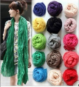 New-Women-Long-Big-Crinkle-Voile-Soft-Scarf-Wrap-Shawl-Stole-Pure-Candy-20-Color