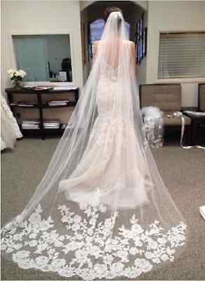 langer Brautschleier 3 M Schleier Feintüll mit Stickerei mit Kamm Hochzeit weiss