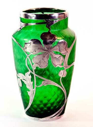 """Loetz 7"""" Art Glass Vase. Iridescent diamond quilted pattern with silver overlay"""
