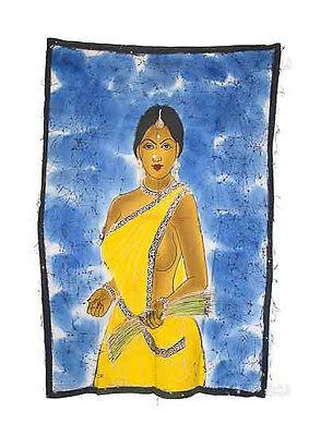 Batik Woman Hindu Erotic 115x 74cm Crafts India Peterandclo 5066