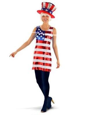 USA Kleid Amerika Pailetten Kostüm Stars and Stripes Damen