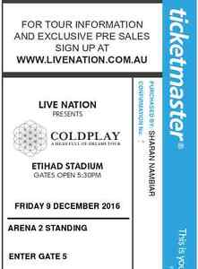 2 x Coldplay tickets for Friday, Dec 9 2016 at Etihad Stadium Carlton Melbourne City Preview