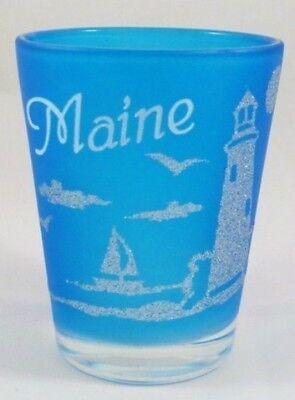 MAINE NEON FROSTED NAUTICAL DESIGN SHOT GLASS SHOTGLASS