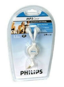NEW-Philips-SJM2604-Universal-Retractable-White-Stereo-Earbuds-Headphone