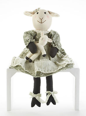 New Primitive Country Folk Art SHEEP DOLL Mama With Baby Lamb Green Dress - Country Baby Sheep