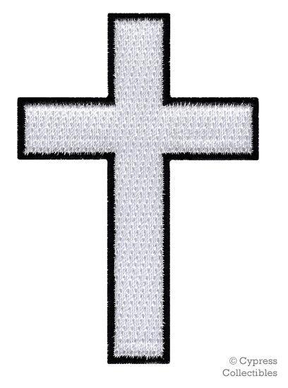 CHRISTIAN CROSS iron-on PATCH embroidered WHITE BLACK CRUCIFIX JESUS BIKER new