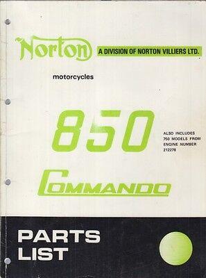NORTON COMMANDO 850 ORIGINAL 1973 FACTORY ILLUSTRATED PARTS CATALOGUE