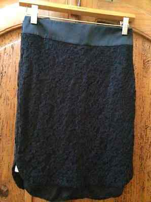 MNG by Mango Black Lace Skirt Satin Waistband Zip Back Lined Size 4