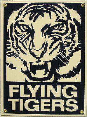 Flying Tigers Aero Plane Airplane Vintage Aviation Porcelain Metal Sign Vintage Metal Airplane Sign