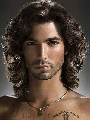 Hot Men Fashion Short Brown Wavy Curly Hair Handsome Male Cosplay Party Full Wig