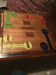 Very unique coffee table with Sorry! boardgame