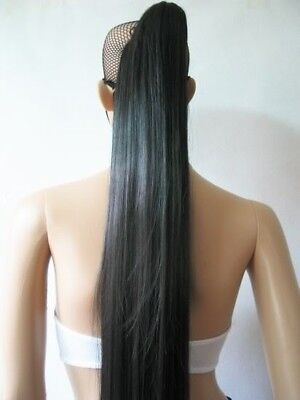 Women 120cm Long Straight Black Ponytail Cosplay Full Wig Halloween Party Hair (Black Ponytail Wig)