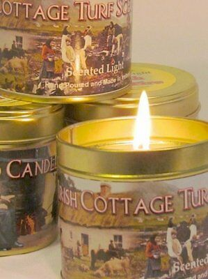 Irish/handmade/hand made/Cottage/Turf/Peat/Fire/Candle/Candles/in/Tin/Tins/New for sale  Shipping to United States