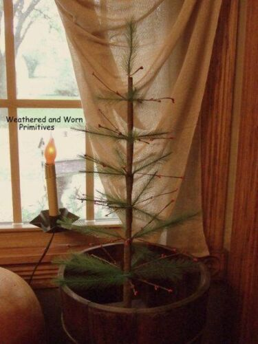 "Primitive Country 22"" Faux Feather Christmas Tree with Red Berries Wood Base"
