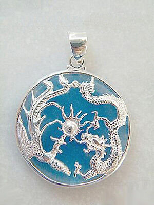 Jade White Gold Necklace - Sky-Blue Jade White Gold Plated Dragon Sun Phoenix Pendant and Necklace
