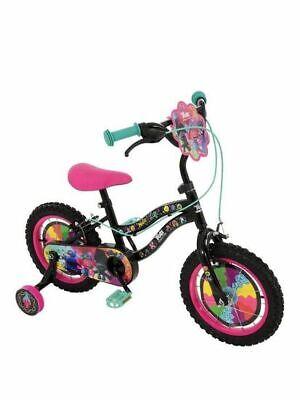 "Trolls 2 World Tour Film Kids Girls Bike 14"" Wheel Stabilisers Black / Pink"