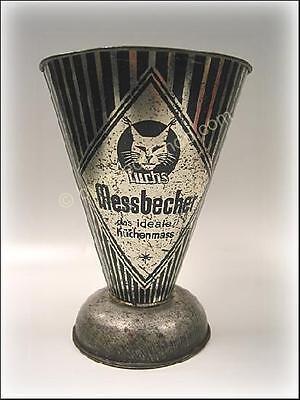 2704) alter Metall Blech MESSBECHER von Luchs mit Skala das ideale Küchenmass