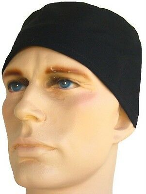 BLACK SURGICAL SCRUB HAT CAP WITH BUILT IN SWEATBAND TIES IN BACK