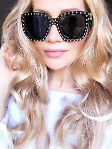 Large Big Square Black Glossy Gold Studded Lou Dark Lens Fashion Sunglasses 7151
