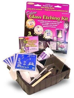 Armour Deluxe Glass Etching Kit With Stencil Assortment Plus   Ships Today