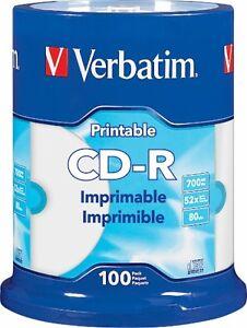 VERBATIM CD-R CDR 52X 700MB White Inkjet Hub Printable 100 pack Spindle 98493