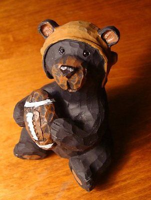 FAUX WOOD-CARVED BLACK BEAR FOOTBALL PLAYER CUB Cabin Home Decor Figurine NEW