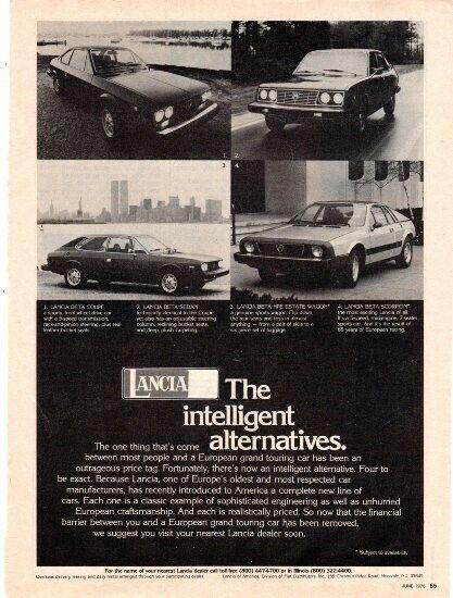 1976 Lancia, American lineup full pg ad, Motor Trend, June 1976 - VG