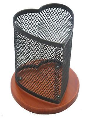 Klearex Heart Shape Mesh Pen Pencil Cup Holder Office Supplies Desk Accessory