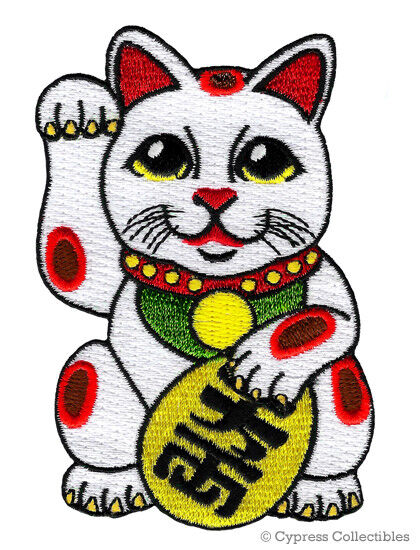 MANEKI NEKO IRON-ON PATCH embroidered JAPANESE GOOD LUCK CAT LUCKY CHARM FORTUNE