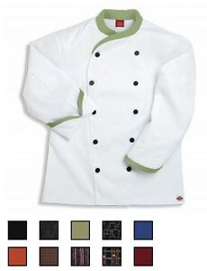 NWT-Dickies-CW070303-Contrast-Trim-Executive-Chef-Coat-34-54-WHITE-Twill-Stretch
